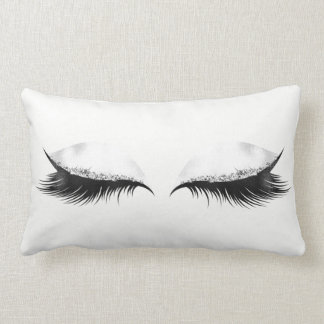 Silver Crystals White Gray Metallic Makeup Lashes Lumbar Cushion