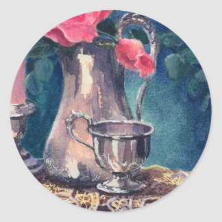 SILVER CUP & ROSEBUD by SHARON SHARPE Classic Round Sticker