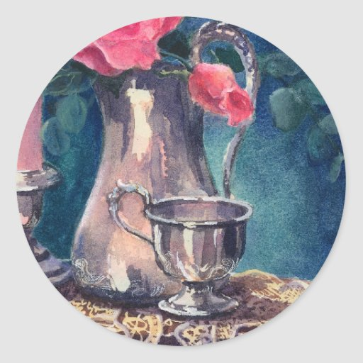 SILVER CUP & ROSEBUD by SHARON SHARPE Round Stickers