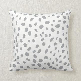 Silver Dalmatian Spots Throw Pillow
