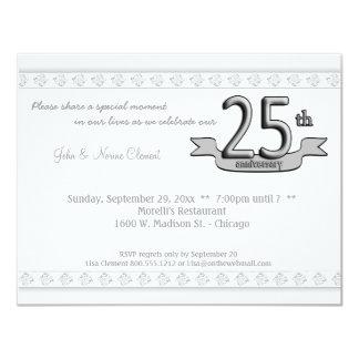 """Silver Damask 25th Anniversary Celebration Invite 4.25"""" X 5.5"""" Invitation Card"""