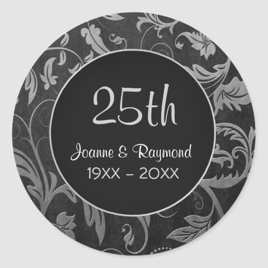 Silver Damask 25th Anniversary - Customise Classic Round Sticker