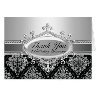 Silver Damask 25th Wedding Anniversary Thank You Card