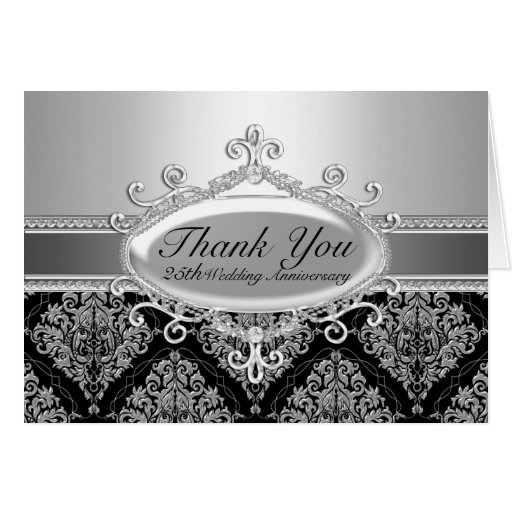 Ypus Silver Wedding Thank: Silver Damask 25th Wedding Anniversary Thank You Note Card