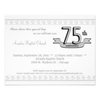 Silver Damask 75th Anniversary Celebration Invite