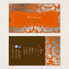 Silver damask/Burnt orange/chocolate Business Card