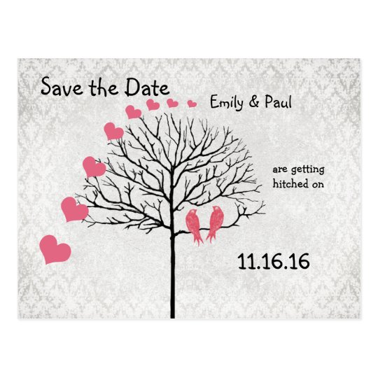 Silver Damask Honeysuckle Birds Save the Date Postcard