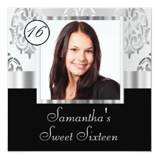 Silver damask instagram  sweet sixteen personalized invitations