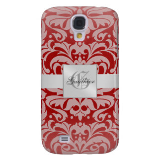 Silver Damask Monogram 3g  Galaxy S4 Case