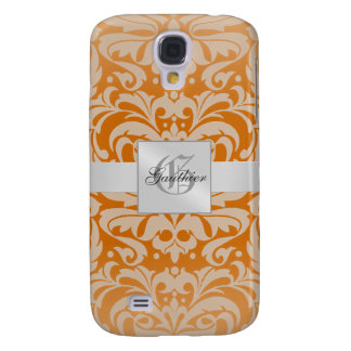 Silver Damask Monogram 3g  Galaxy S4 Case