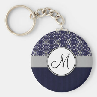 Silver Damask on Blue with Stripes and Monogram Basic Round Button Key Ring