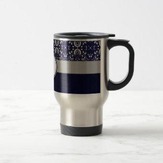 Silver Damask on Blue with Stripes and Monogram Travel Mug