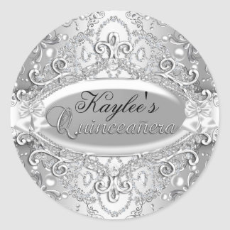Silver Damask Pearl Quinceanera Sticker
