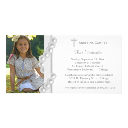 Silver Damask Pearls First Communion Photo Invite Photo Card