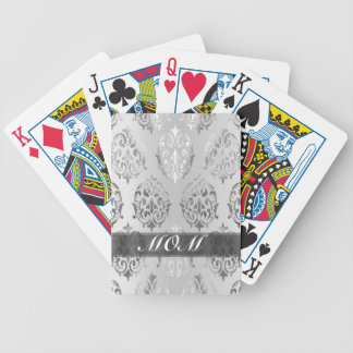 Silver damask personalized mom bicycle playing cards