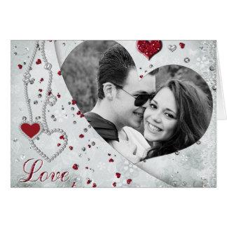 Silver Damask Photo Heart Notecard
