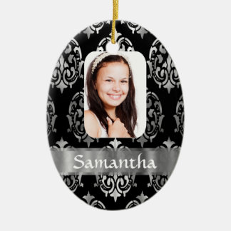 Silver damask photo template christmas ornament