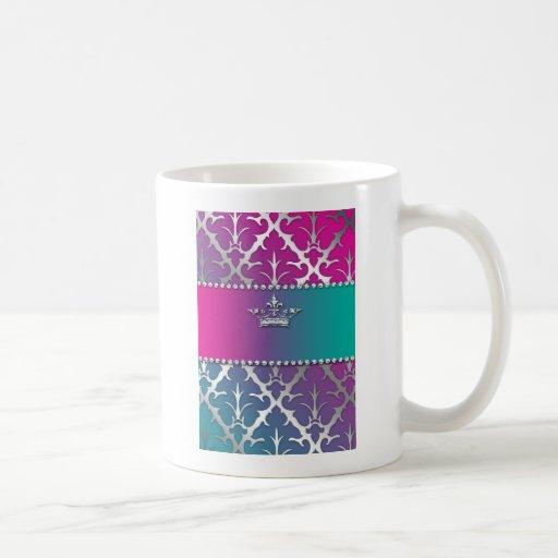 Silver-Damask-Shiny-Invite-Trio-Crown Coffee Mug