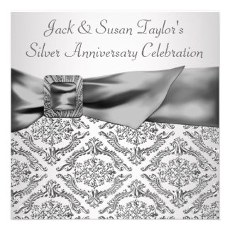 Silver Damask Silver 25th Anniversary Party Custom Announcements
