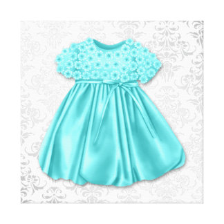 Silver Damask Teal Blue Dress Baby Girl Stretched Canvas Print