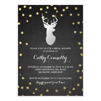 Silver Deer Gold Confetti Chalkboard Bridal Shower Card