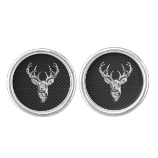Silver Deer Head in Carbon Fiber Style Cuff Links