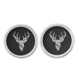 Silver Deer Head in Carbon Fibre Style Cufflinks