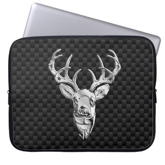 Silver Deer on Carbon Fiber Style Print Laptop Sleeve
