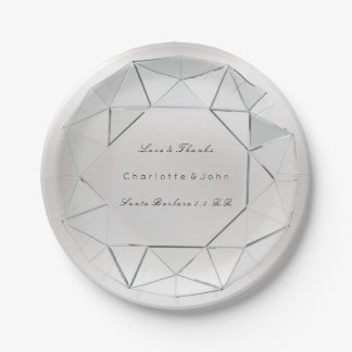 Silver Diamond Crystal  Gray Glam Wedding Vip Paper Plate