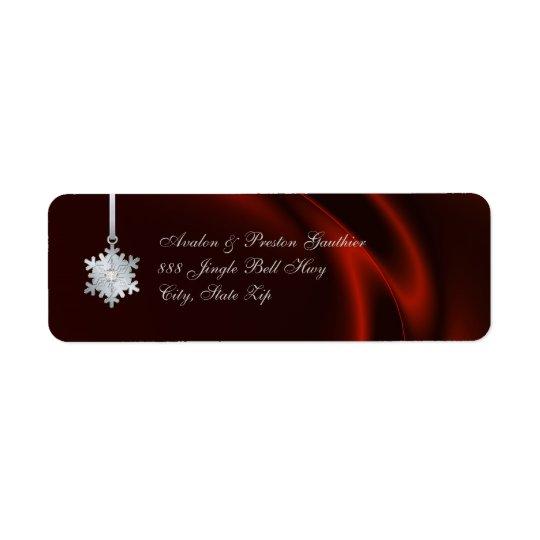 Silver Diamond Snowflake Red Silk Holiday