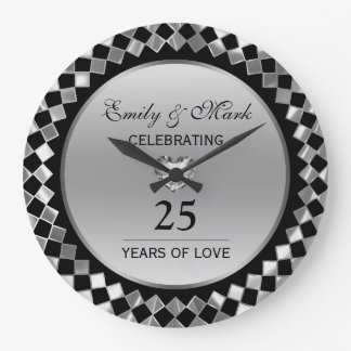 Silver Diamonds And Heart- 25th Anniversary Large Clock
