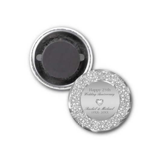 Silver Diamonds And Heart- Anniversary Magnet