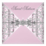 Silver Diamonds Pink Sweet 16 Birthday Party Invite