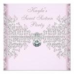 Silver Diamonds Pink Sweet 16 Birthday Party Custom Invites
