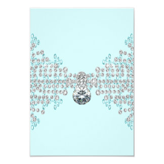 Silver Diamonds Teal Blue RSVP 9 Cm X 13 Cm Invitation Card