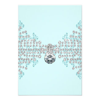 Silver Diamonds Teal Blue RSVP Personalized Invites