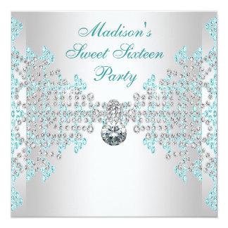 Silver Diamonds Teal Blue Sweet 16 Birthday Party 13 Cm X 13 Cm Square Invitation Card