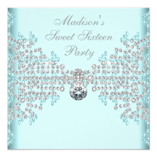 Silver Diamonds Teal Blue Sweet 16 Birthday Party 13 Cm X 13 Cm Square Invitation Card