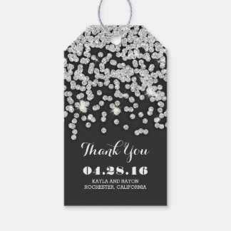 Silver Diamonds Wedding Thank You Gift Tags