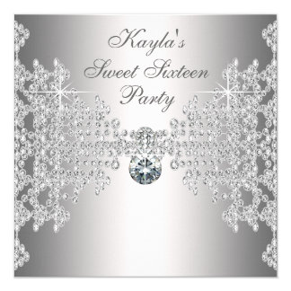 Silver Diamonds White Sweet Sixteen Birthday Party 13 Cm X 13 Cm Square Invitation Card