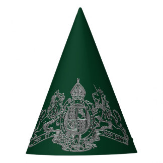 Silver Dieu et Mon Droit British Coat of Arms Party Hat