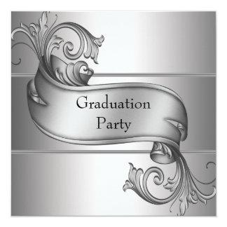 Silver Diploma Black Graduation Party 13 Cm X 13 Cm Square Invitation Card