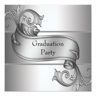 Silver Diploma Black Graduation Party Card