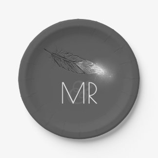 Silver Dipped Feather Elegant Grey Wedding 7 Inch Paper Plate