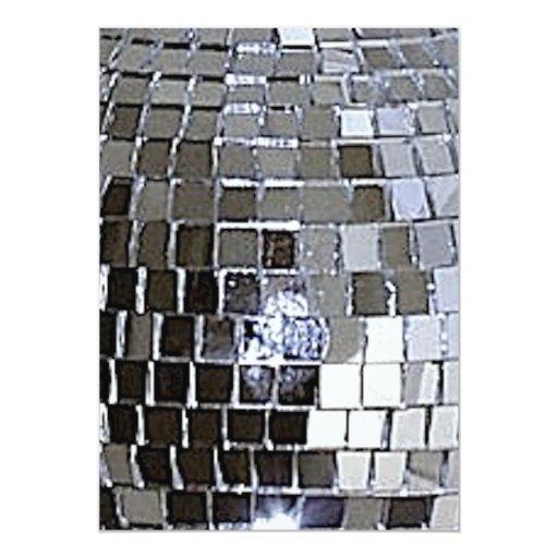 """Silver Disco Ball 5"""" X 7"""" Invitation Card"""
