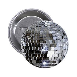 Silver Disco Ball 6 Cm Round Badge