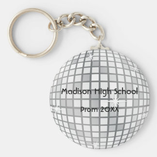 Silver Disco Ball Prom Formal Favor Basic Round Button Key Ring