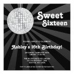 Silver Disco Ball Sweet 16 Birthday Custom Invitation