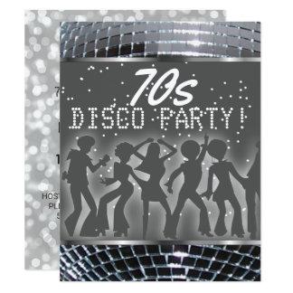 Silver Disco Dance Party | Retro 70's Theme Party Card