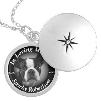 Silver Dog Memorial Locket Necklace